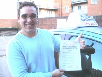 Thank you very much Franco The way you teach is very clear and concise You taught me how to drive safely and I now I feel very confident when I drive I passed my driving test today first time and I have to thank you for that By the way thank you very much for never shouted at me during my lessons You are the best driving instructor